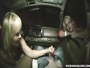 Hot Blonde Babe Jerks Off Big Cock In Car