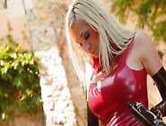 Latex Lady In Gloves And Red Dress Hd