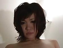 Japanese Slut In Fishnets Deep Throats Two Hard Dicks On Her Kne