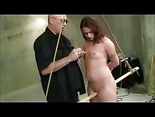 Nipple Clamped Toyed And Spanked