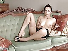 Hot Brunette Masturbates In Leopard Heels And Vintage Nylons