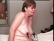 Chunky Short-Haired Blonde Submits To Clamps On Her Nipples And