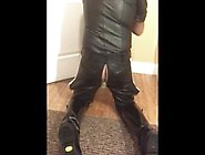 Leather Uniform Jerk And Ass Play