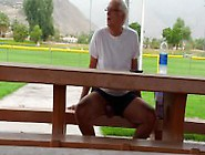 Horny Older Man Shows His Big Hard Cock At Public Place.