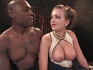 Big-Titted Female Ties Up Chocolate Boy And Playthings Him Toget