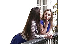 Lesbian Girlfriends Had Foreplay In Balcony