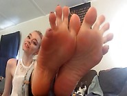 Pretty Blonde Kat Puts Her Sexy Feet And Toes In The Air And Sho