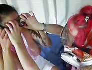 Curvy Lesbians Getting Messy Swapping Slimy Spit