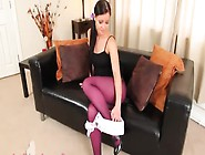 Purple Nylon Pantyhose On Extreme Babe