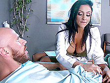 Horny Dark Haired Doctor Cures A Man By Sucking His Cock