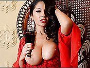 Fake Tittied Lady In Red Is Eager For Your Meaty Cock