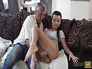 Teen Brunette Fucks Old Man Behind Her Boyfriend