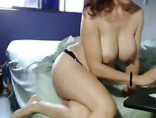 Busty Brunette Milf Masturbates With Her Hands And Vibrator
