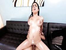Jenny mcclain oils up her big 36f tits in sauna - 3 part 3