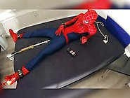 Spiderman Bound With E-Stim Milking