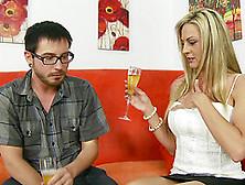 Busty Milf Seduces Nerdy Guy Into Tasting Her Twat