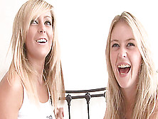 Blonde Lesbians With Natural Tits Have Fun Touching Each Other N