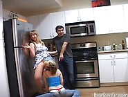 Three Way Fucking In The Kitchen And In The Bedroom With Girls W