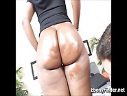 Big Black Booty Girl Rides Mature White Cock