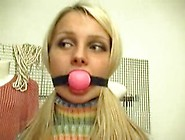Blonde Teen Tied And Ballgagged Wearing A Strip Tneck (Oldies)