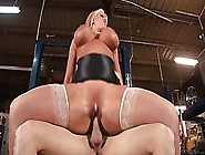 Blonde Milf In Stockings,  Alura Jenson Is Grabbing Her Big Tits,