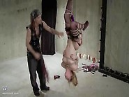 Slave Girl Lily Ligotage Gets Hung Upside Down,  Flogged And Mast