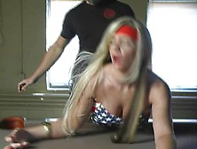 Superheroine Strangled With