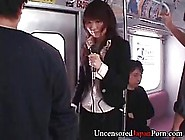 Japanese Babe Is Being Molested In The Bus,  While Her Friend Is