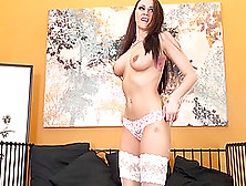Alexis Peels Off Her Panties,  But Leaves Her Stockings On While