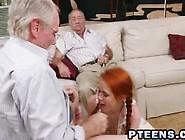 Old Man Bangs Skinny Redhead Teen
