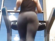 Big Ass Woman Running On A Treadmill