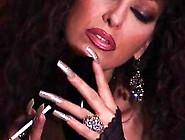 Mature Brunette Teasing In Pantyhose,  Long Nails,  Smoking