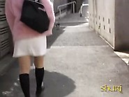 Girly Asian Teen In Pink Street Sharked And Pantyless.