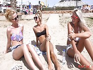 Blonde Gals With Little Tits Hang Out On The Beach