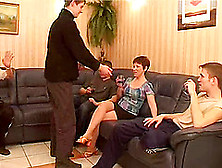Several Guys Fill This Mature Chick's Holes With Their Cock