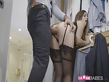 Stella Cox In Black Stockings Pumped From Behind After Cocksucki