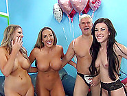 Once Lucky Bastard Has A Foursome With Three Sexy Milfs