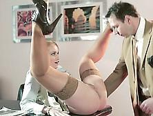 Blonde Secretary Doing Her Job Well