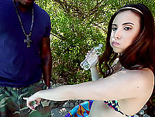 Casey Calvert Sucks A Black Trouser Snake In The Yard And Rides