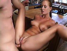 Horny Housewife With A Nice Tan Takes It Right In Her Kitchen