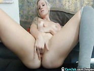 Hot Blonde Babe Fucks With Her Dildo