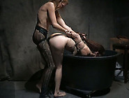 Bound Brunette Lady Fucked Hard With A Strapon Over The Barrel