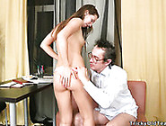 Dark Haired Russian Slut Blows Staff Dick Of Her Teacher