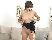 Brunette Solo Model Pose While Showcasing Her Shaved Pussy Seduc
