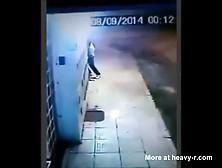 Black Guy Rapes Girl In Alley,  Security Camera