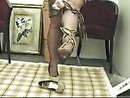 Foot Tease In Brown Stockings # 3