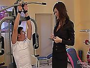 Super Hot Girl In Black Stockings In Heels In Gym