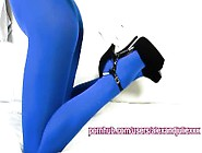 Julie's Sensual Blue Pantyhose And Stiletto High Heels Sens