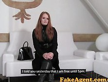 Fakeagent Fiery Red Head Babe Takes First Time Creampie In Offic
