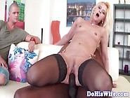 Slutty Blonde Bitch Fucking A Black Dude In Front Of Her Hubby
